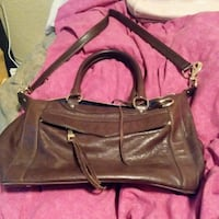 women's brown leather 2=way bag