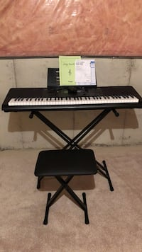 black and white electronic keyboard with stand and bench Oakville, L6M 5J2