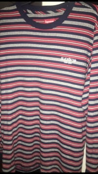 white, black, and red striped Supreme crew-neck long-sleeved shirt Fullerton, 92832