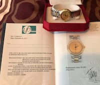 18 kt gold diamond and s silver ladies watch