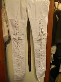 White ladies lace up jeans