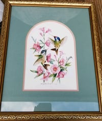 white and pink flower painting with brown wooden frame 498 mi