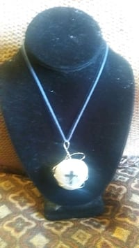 Leather necklace  cross on stone