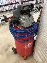red and gray Central Pneumatic vertical air compressor Bradenton, 34203