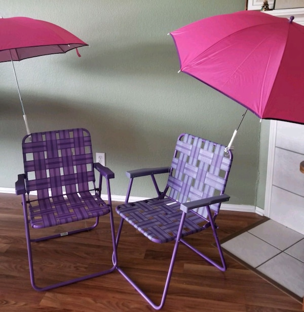 Used Pair Of Folding Lawn Chairs With Umbrellas For In Arlington Letgo