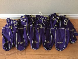 Hundreds of Crown Royal Purple & Green Cloth Bags