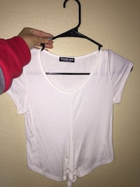 white knot scoop-neck shirt