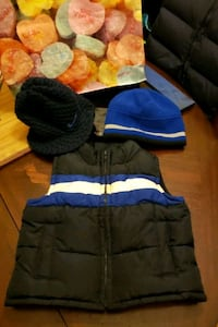 puffy vest & 2 hats