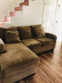 brown suede sectional sofa with ottoman San Diego, 92121