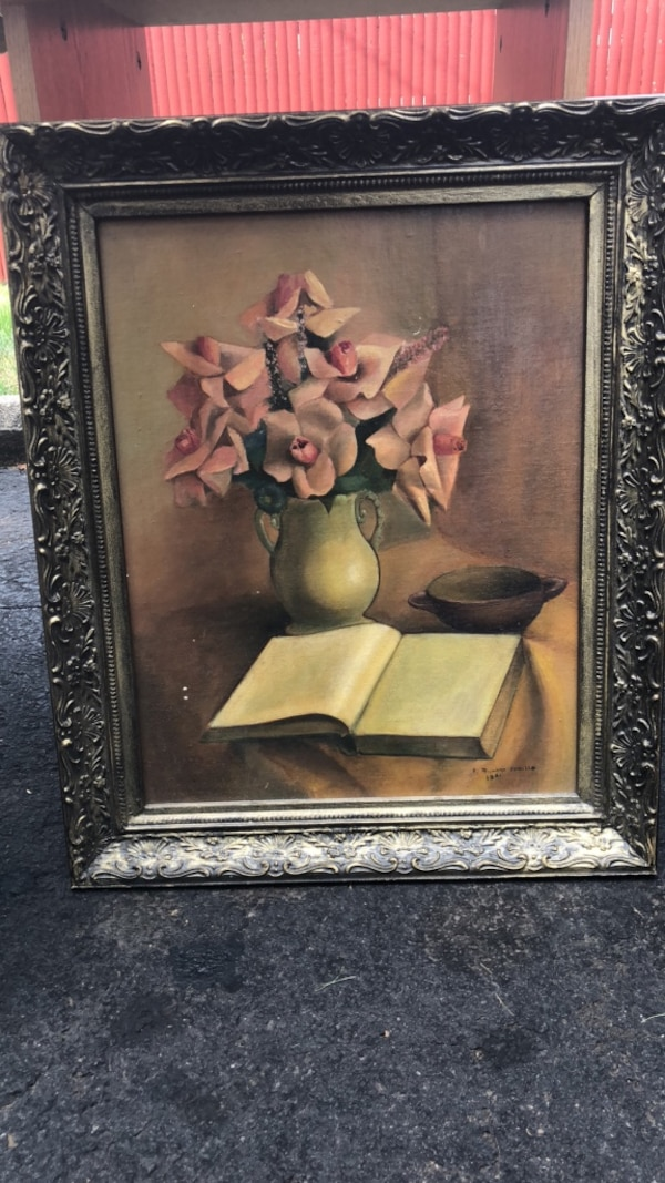 Used Brown Wooden Framed Painting Of Flowers For Sale In South