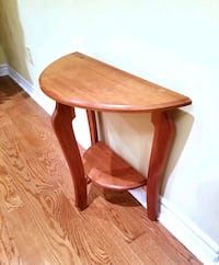 Wooden Half Moon Accent Table