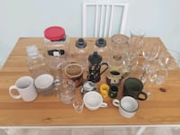 Kitchen glass ware and other items lot