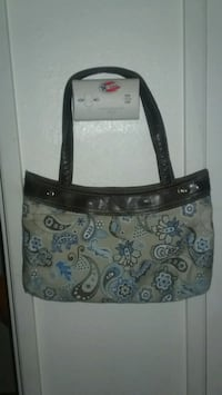 brown and black floral leather tote bag Lancaster