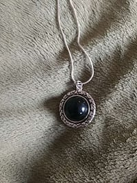 Black bead pendant on 925 Silver chain
