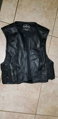Leather motorcycle riding vest