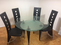 Glass round dining table and chairs set 541 km