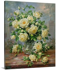 Princess Diana Roses in a Cut Glass Vase Canvas Wall Art Bethesda