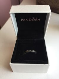 Silver-black colored pandora ring with box