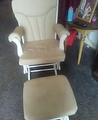 brown wooden framed white padded glider chair Meansville, 30256
