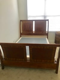 Queen oak & Cherrywood Sleigh bed (metal rails included) Annapolis Junction