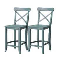 """New, Set of 2, 24"""" Litchfield X-Back Counter Stools, Teal – Threshold"""