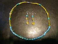 blue-and-yellow beaded necklace and hook earrings Woodbridge, 22193