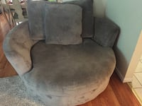 gray suede sofa chair with throw pillow Rochester, 14615