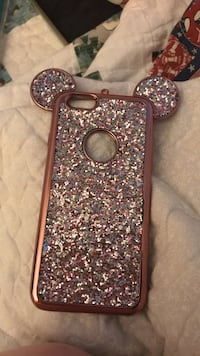 gray and rose gold glitter Mickey Mouse iPhone case
