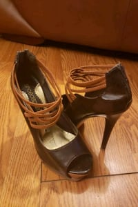 Brown peep toe heels 7.5 Springdale, 20774