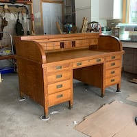 Large Antique Roll Top desk in Oak with Brass Legs and Handles - OBO