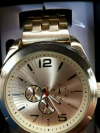 round silver Michael Kors chronograph watch with link bracelet 3153 km