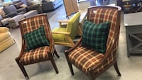 two brown wooden framed green and red plaid padded armchairs Las Vegas, 89121
