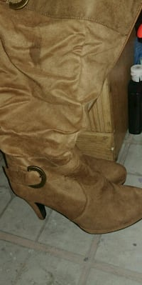 brown suede knee-high boots Cocoa, 32922