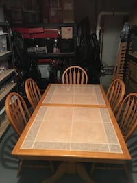 Rectangular brown wooden table with tile top and 5 chairs excellent condition  Jackson, 08527