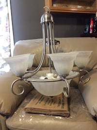 Brushed silver light fixture