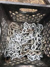 Crate of chains. I keep the milk crate, $20 for all chains New Lenox, 60451