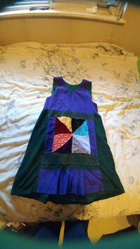 Green and purple pleated dress