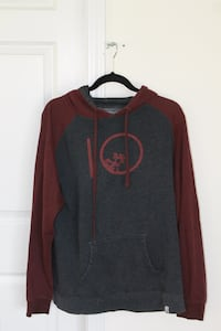 gray and maroon pullover hoodie