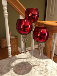 Set of 3 Red Glass Candle Holders Bronxville, 10708