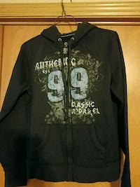 black and white zip-up hoodie sz XL Maxwell, 50161