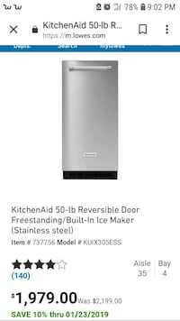 Stainless steel icemaker for sale.. Houston, 77039
