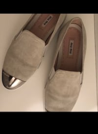 Gray miu miu suede loafers