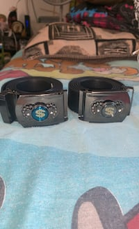 2 leather money belts; imported from Egypt