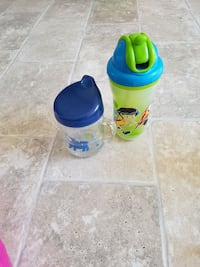 two blue and green sipped bottles