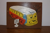 Rare Vintage SIFO Wood School Bus and Bus Stop Puz Locust Grove