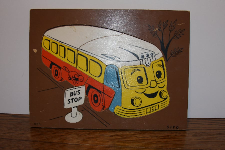 Rare Vintage SIFO Wood School Bus and Bus Stop Puz f4a308c9-8e35-4a14-92c2-365eb5f143a3
