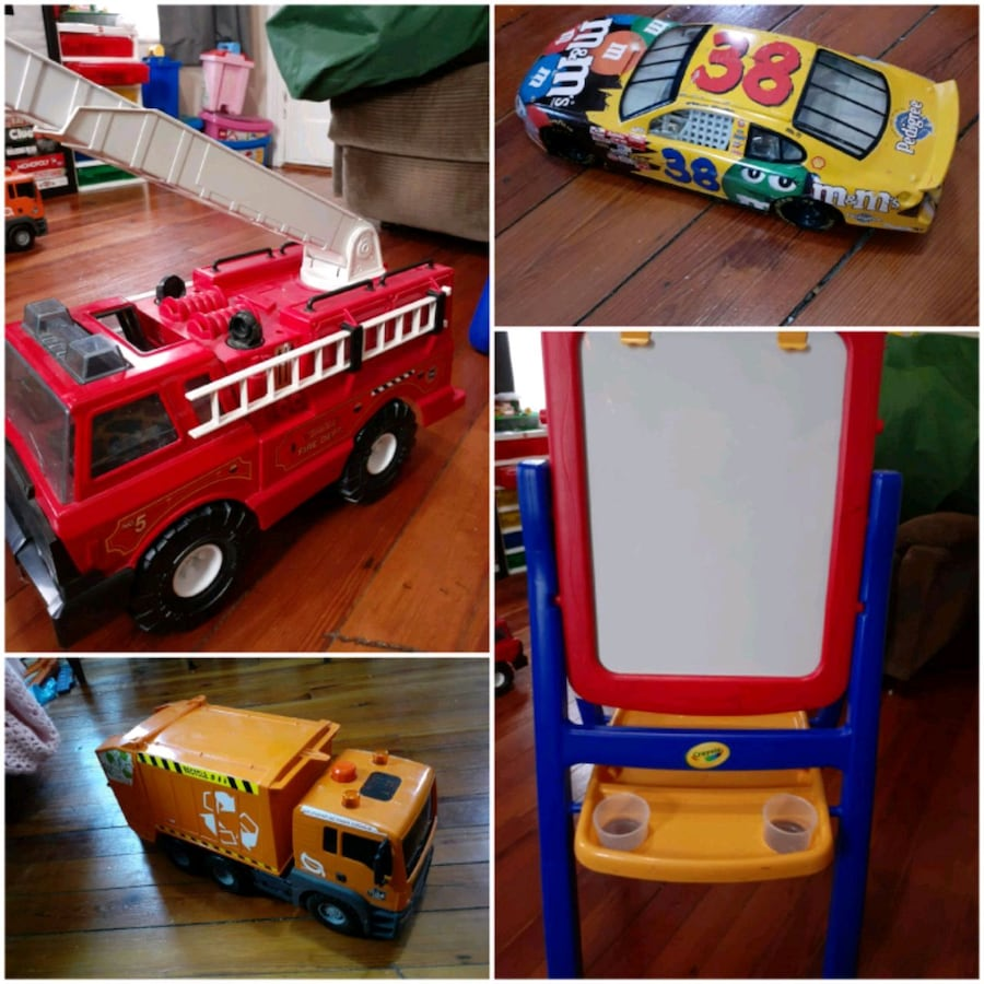 Tonka fire truck, reversible easel, trash truck, and race car