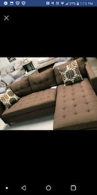 brown and black fabric sectional sofa Austin