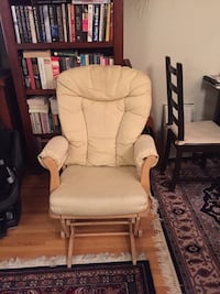 white padded brown wooden glider chair Vancouver, V6K 1A9