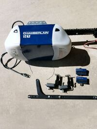 white and blue Chamberlain garage door opener